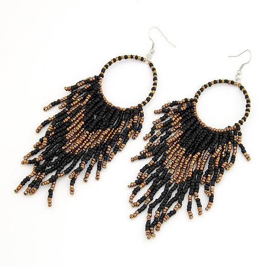 2019 Bohemian Ohrringe für Frauen Bijoux Big Statement Ohrringe Modeschmuck Perlen Quaste Lange Ohrringe Boho Ethnic Schmuck