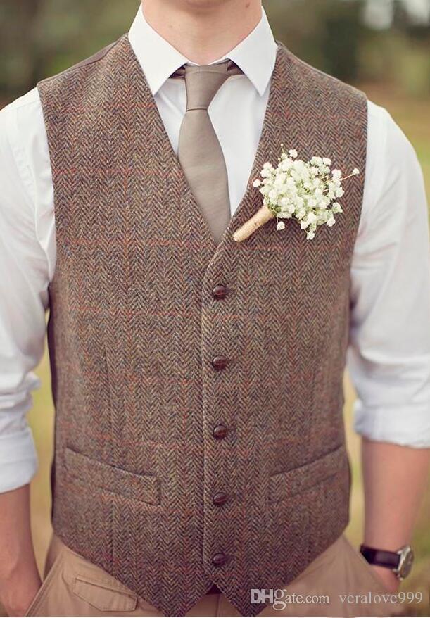 In Stock 2019 Country Brown Groom Vests For Wedding Wool Herringbone Tweed Custom Made Slim Fit Mens Suit Vest Farm Prom Dress Waistcoat