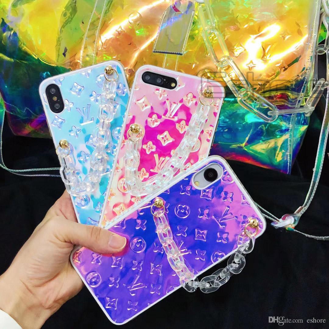 رواج تصميم بلينغ القضية مرة أخرى الهاتف سلسلة الغلاف أزياء فون برو 11 11Pro X XS MAX XR 8 8Plus 7 7Plus كاندي نمط شل حالات