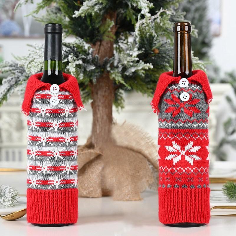 Gestrickte Weihnachtswein-Abdeckung Tasche Schneeflocke-Knopf gestrickt 30 * 10cm Kreative Designer Weinflasche Abdeckung Weihnachtsdekoration HHA914