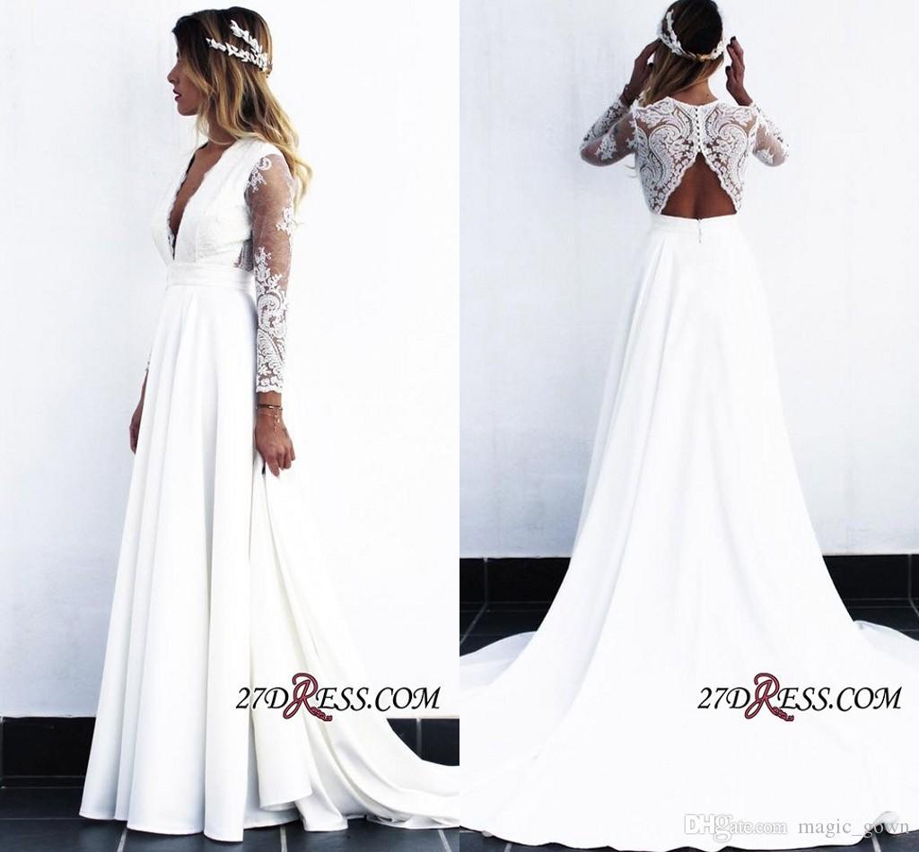 2019 nova moda praia vestidos de noiva bohemian decote em v profundo longo ilusão mangas vestido de noiva vestidos de noiva vestido de novia robe de mariée