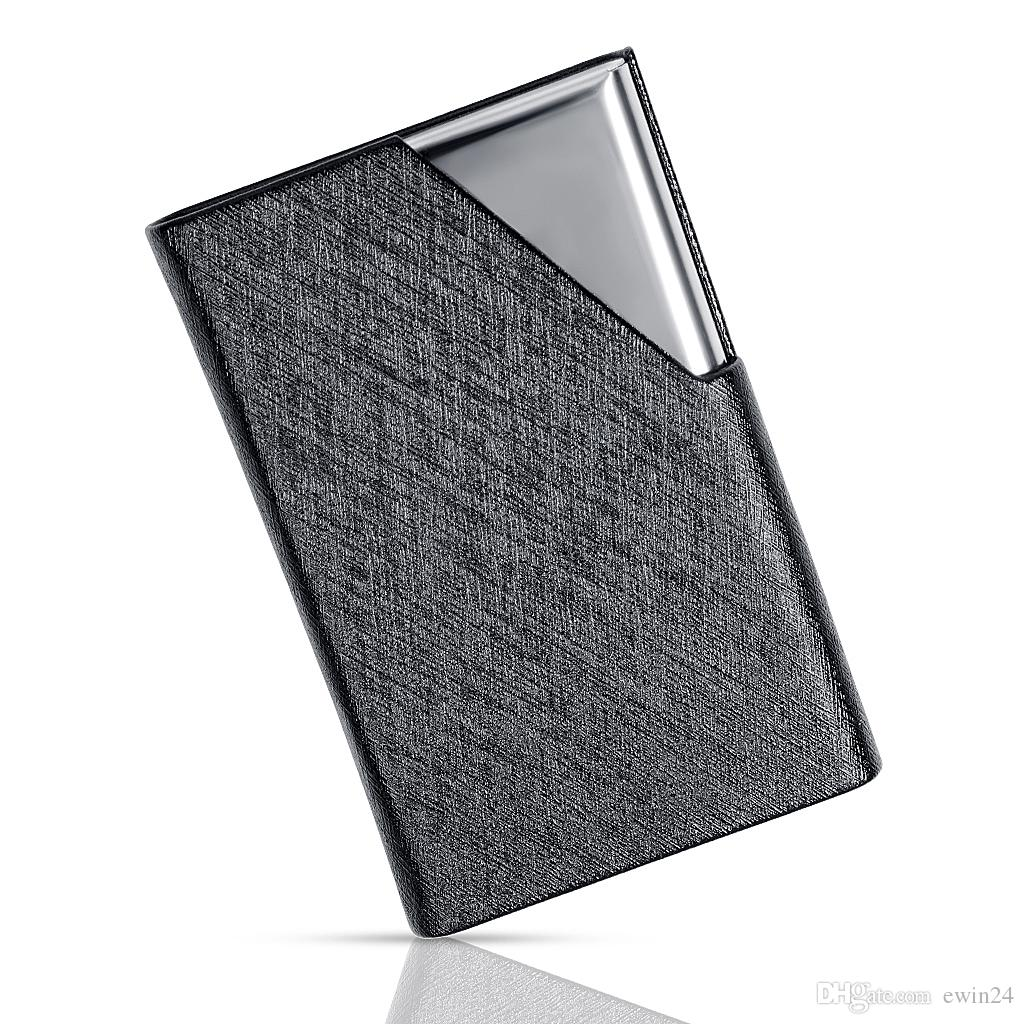 Business Card Holders Stainless Steel And PU Leather Credit Card ID Name Card Organize Case For Men And Women-Black
