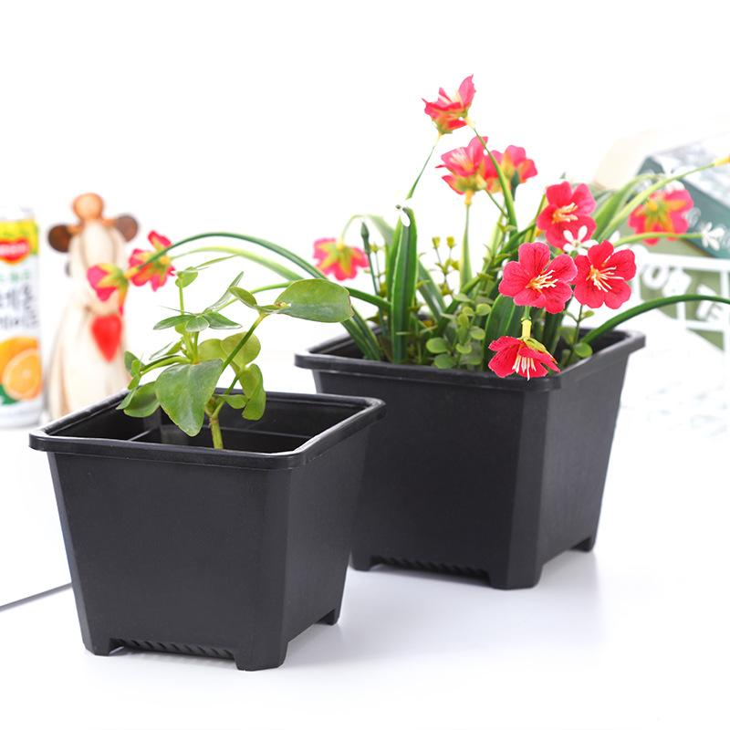 Square Nursery Plastic Flower Pot Planter 3 Size for Indoor Home Desk Bedside or Floor, and Outdoor Yard,lawn or Garden Planting DH0180