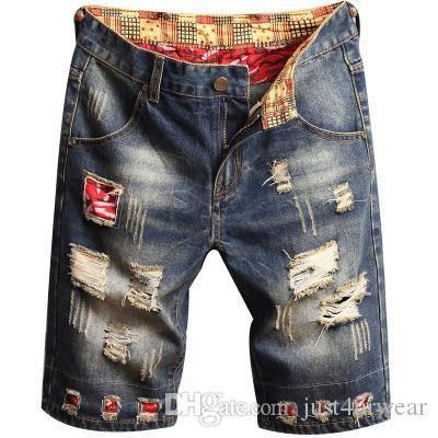 Mens Estate Vintage Foro Jeans Patchwork Moda Ginocchio Lunghezza Pantaloni Corti Casual Maschile Dritto Brevi Jeans