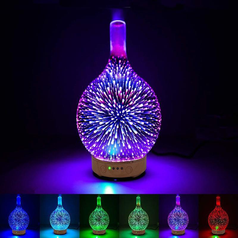 خلاقة العطر مصابيح 3D زجاج مرطب ملون الصمام ليلة الخفيفة الروائح آلة المنزلية الأساسية الناشر النفط