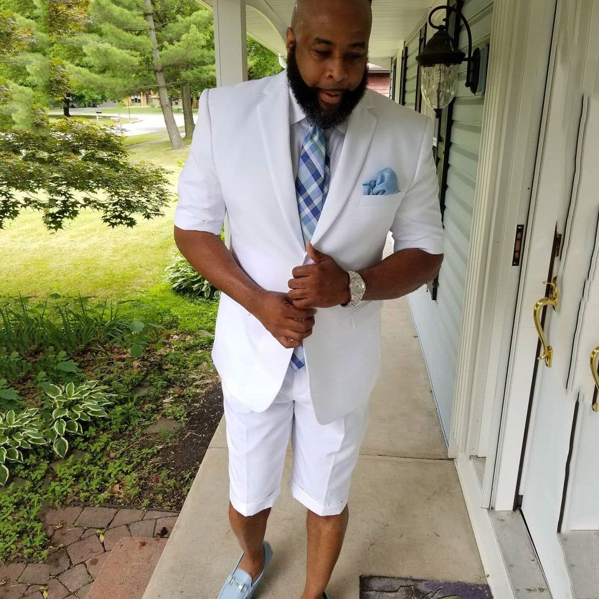 Costumes de mariage de grande taille hommes blancs 2 pièces formelle revers solide entreprise été Groom Beach Wear Blazer (veste + pantalon)
