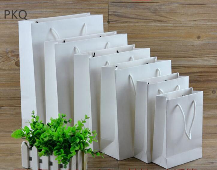 Große 10pcs Hochzeit Süßigkeiten Verpackung Geschenkbeutel Recycelbar Schmuck Brot Partei Taschen kleine Boutique Kraft Paper Gift Bag 5color