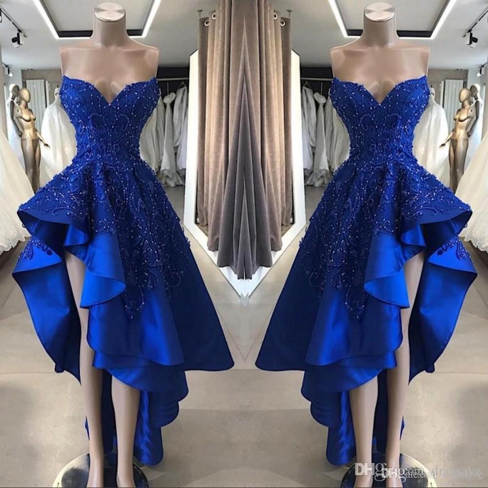 Royal Blue High Low Prom Cocktail Vestidos real Imagem A Linha frisada Appliques Namorada Assimétrico longo Homcoming Vestidos