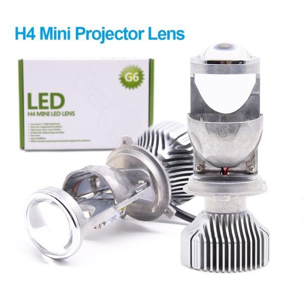 1 Set H4 G6 Fanless LED Hi-Low MINI Projector Lens Headlight For Car Clear Dual Beam Pattern 12V 5500K NO Astigmatic Problem 70W 12000LM Whi