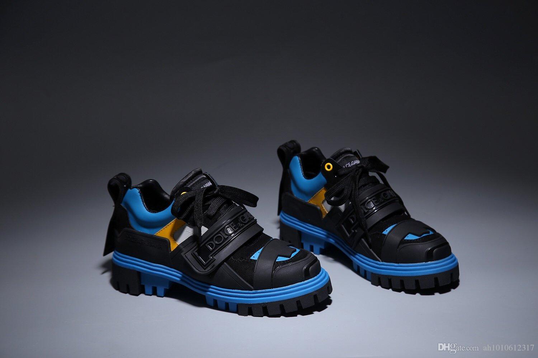 2020 Série Medusa épais large Chaussures à semelles papa en cuir de vache pour hommes et femmes à tête ronde bas multifactoriel couleur épissé Twisted Chaussures de sport