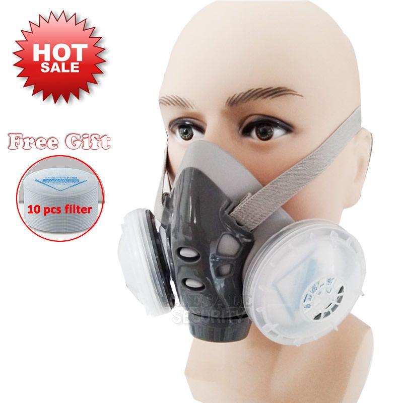 2020 고품질 먼지 목수 빌더 광부 연마 방진의 경우 호흡기와 듀얼 필터 하프 페이스 마스크 마스크