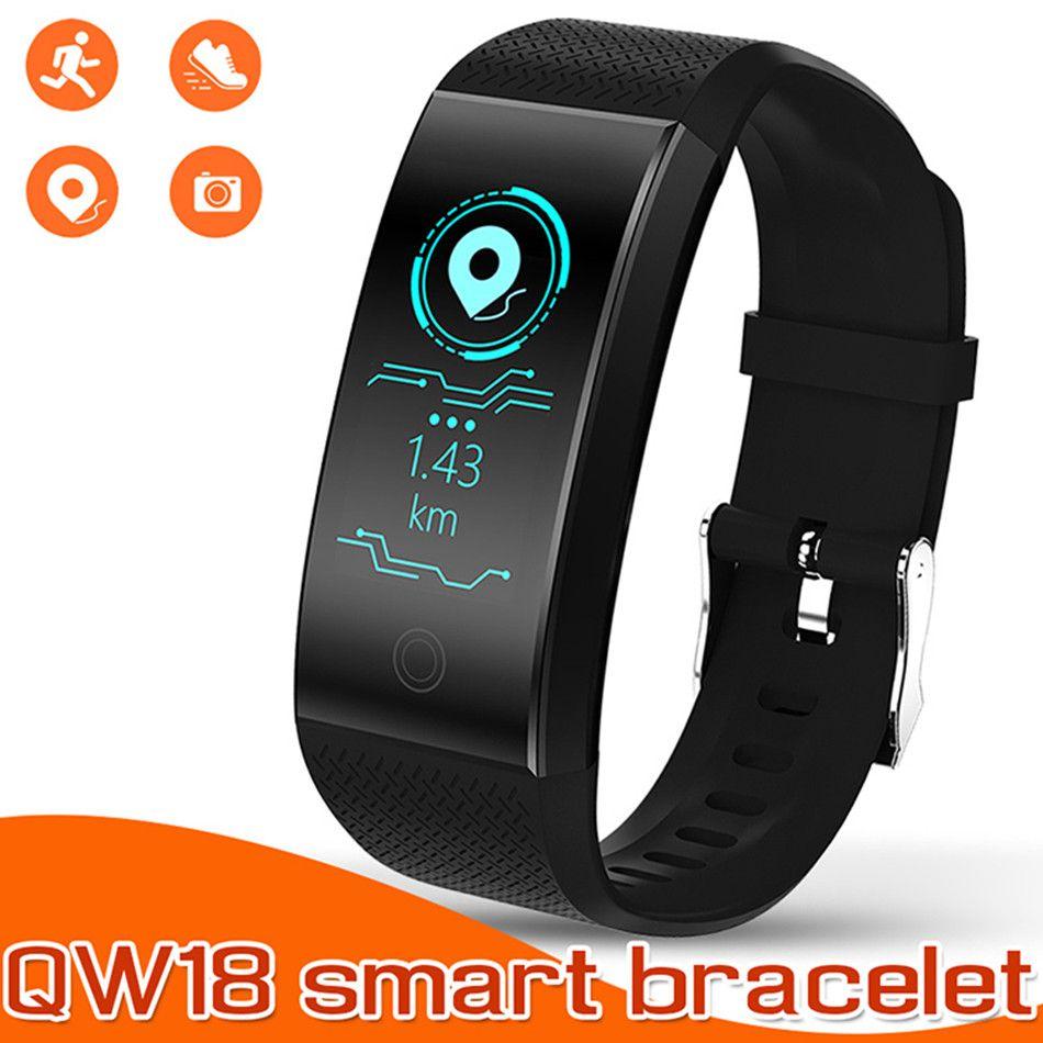 Смарт-браслет браслеты фитнес-трекер активности Qw18 цветной экран водонепроницаемый спортивные часы монитор артериального давления для IOS Andorid в коробке