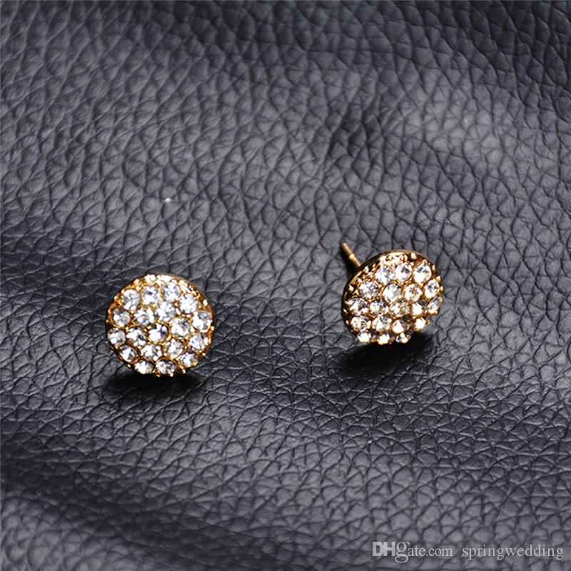 2019 New Gold Crystal Stud Earrings For Women Fashion Round Earrings Wedding Jewelry Gift For Christmas Birthday Valentines Day CPA1878