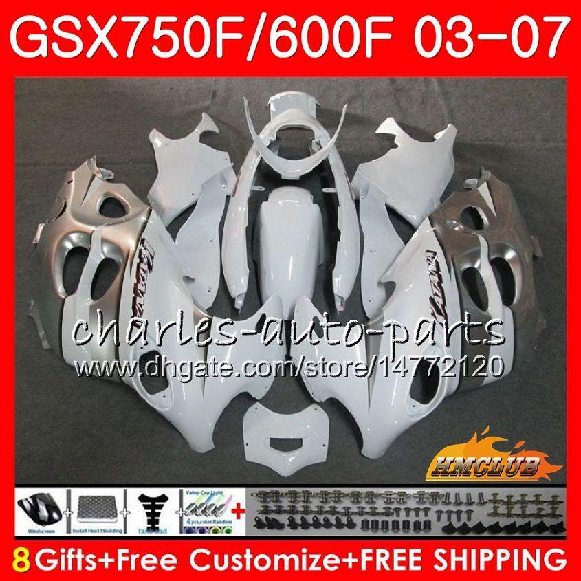 Kit per il corpo per Suzuki Bianco Silvery Katana GSXF600 GSXF750 03 04 05 06 07 3HC.35 GSX750F GSX600F GSXF 750 600 2003 2004 2005 2006 2007 Fairing