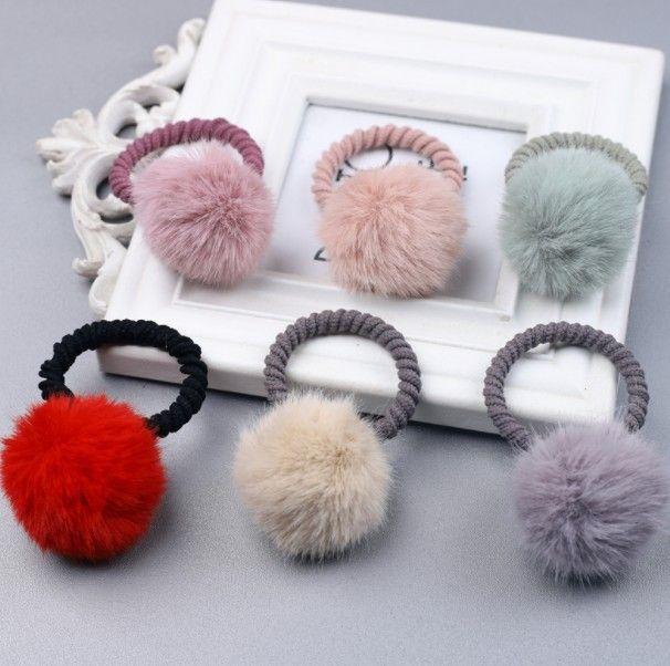 HOT Headbands Baby Girl Fashion Gum Pompon Elastic Hair Bands Ball Pink Scrunchy Children Lovely Kids Rubber Headbands Hair Accessories