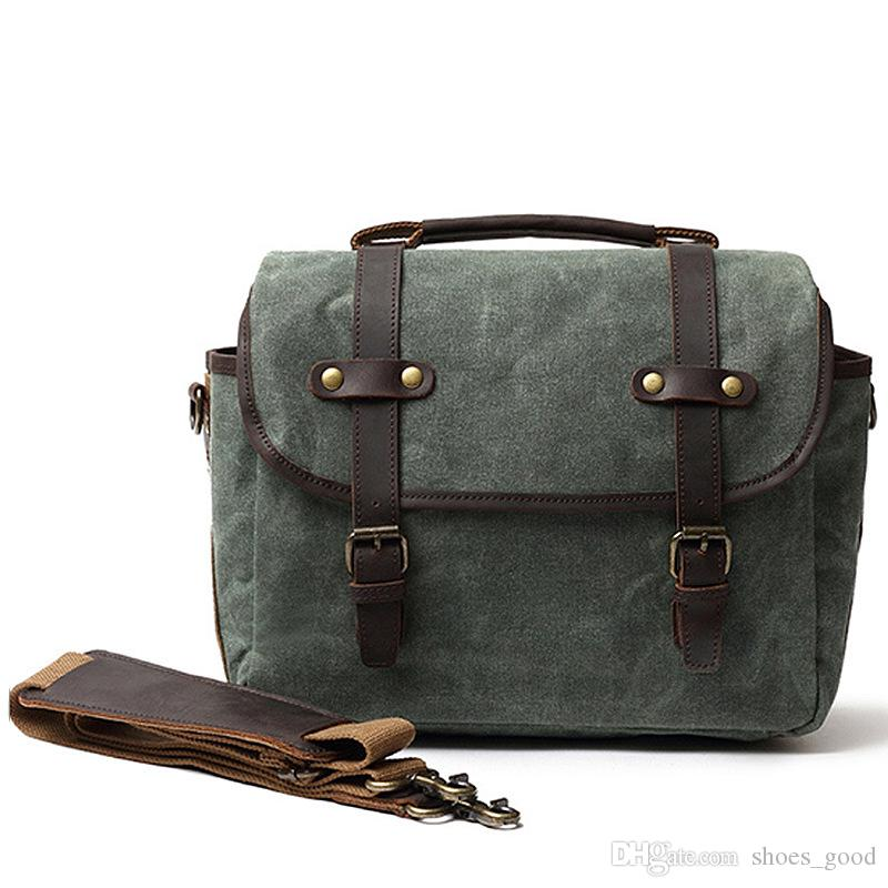 New Arrivals Vintage Camera Storage Bag Laptop Bags Men Briefcase Attache Case Cross Body Shoulder Bags made of Real Genuine Leather and Ca