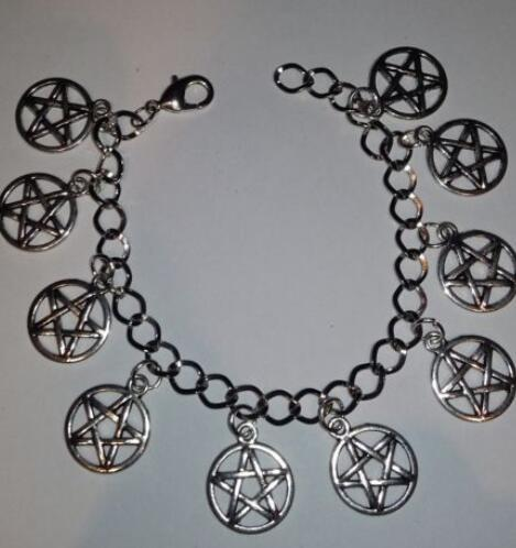 Pentacle Charm Bracelet Vintage Silver Wiccan Charm Infinity Pentagram Beads Cuff Bracelet Anklets Jewelry Women Gift Accessories