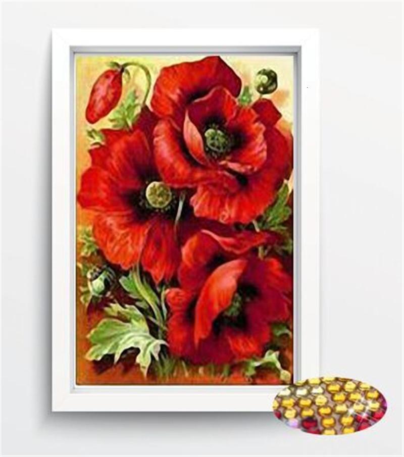 hediye SH190924 için 2018 New5D DIY elmas Boyama çiçek Çapraz Dikiş elmas nakış kristal yuvarlak pırlanta duvar çıkartmaları ev dekorasyonu