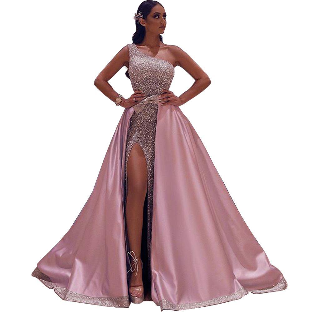 2020 весна-лето плеча Sexy рукавов Бронзировать Sequined Mopping Вечернее платье