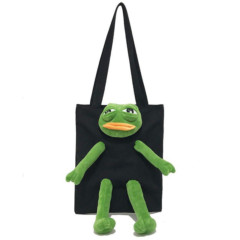 Frog cartoon ladies handbag black panther funny shoulder bag cute plush doll girl casual shopping canvas bag.