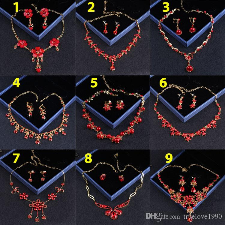 Charming Red Bridal Jewelry 2 Pieces Sets Necklace Earrings Bridal Jewelry Bridal Accessories Wedding Jewelry T215036
