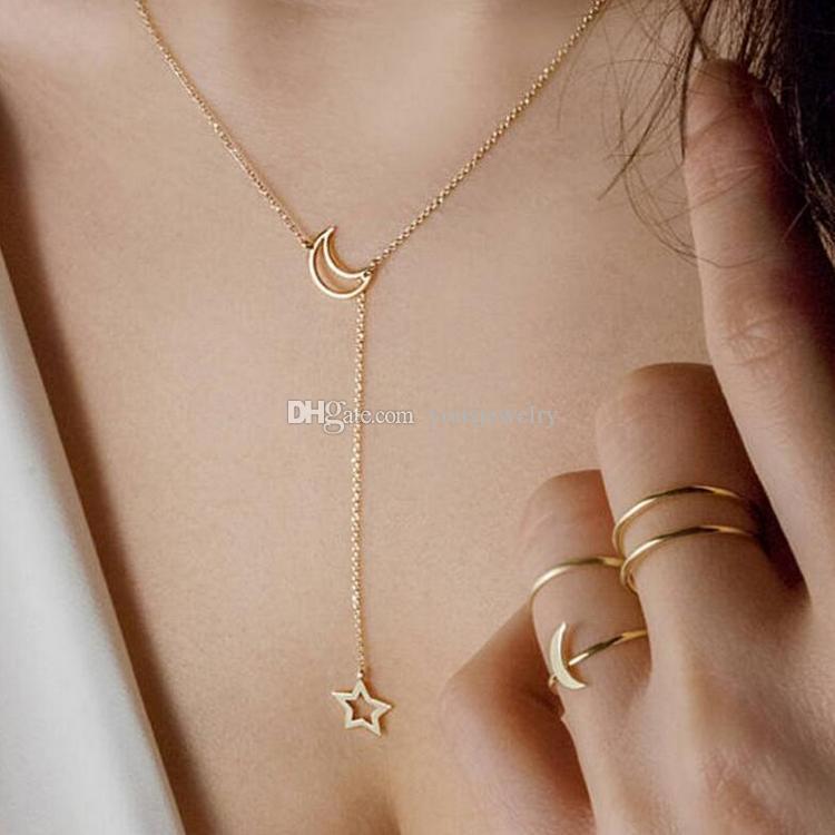 Moda Ay Yıldız Kolye Kısa Boyun Zinciri Gerdanlık Altın Gümüş Dikilen Alaşım Kolye Bayanlar Kolye Takı