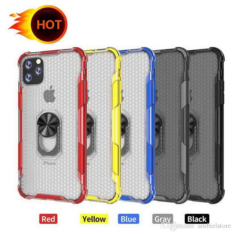 2 in 1 anello di supporto magnetico Car Holder Kickstand per iPhone cassa del telefono di 11 pro Xr XS Max Samsung S10 note10 Casi trasparente armatura ibrida