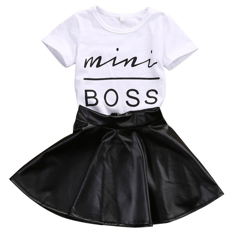 New Fashion Toddler Kids Girl Clothes Set Summer Short Sleeve Mini Boss T-shirt Tops + Leather Skirt 2PCS Outfit Child Suit
