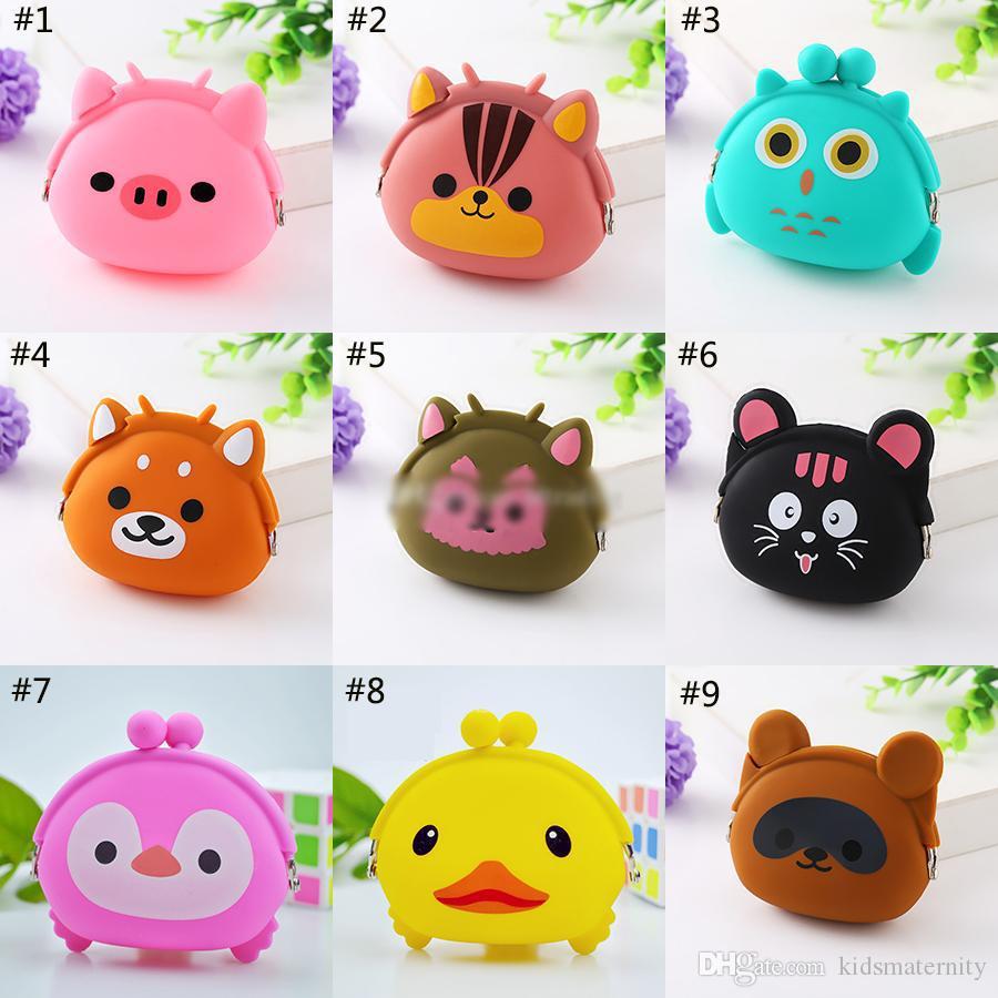 15 stili Casi mini animali Storage Bag Kawaii Candy Owl raccoglitore del silicone piccolo sacchetto sveglio della borsa della moneta di per Girl tasti in gomma Portafoglio