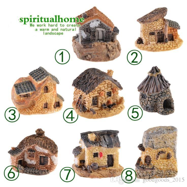 Cute Mini Stone House Fairy Garden Miniature Craft Micro Cottage Landscape Decoration For DIY Resin Crafts 8 Styles DLH111