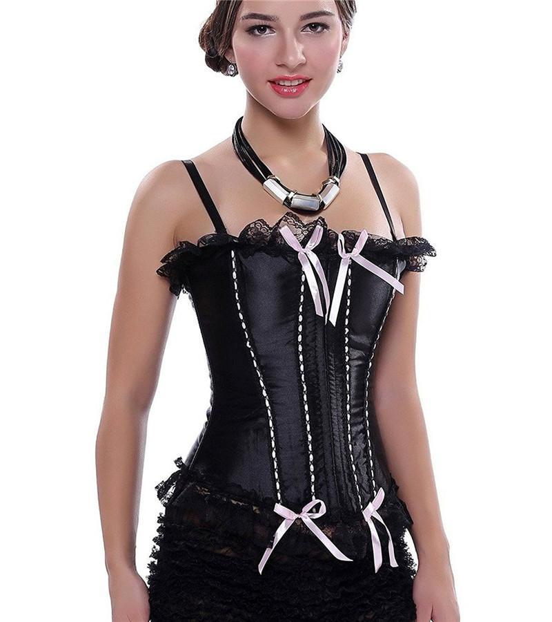 Brocade Boned Corset Top Womens Bodice Black Red | Womens bodice, Women corset, Corset top