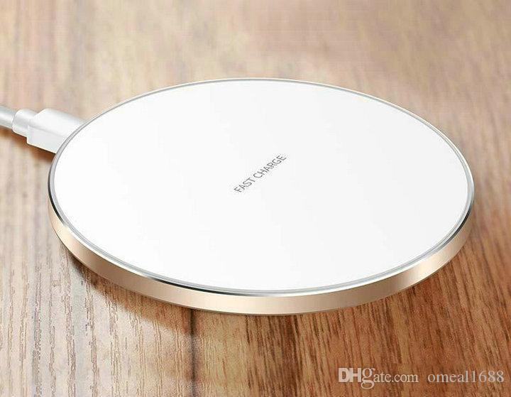 شاحن سريع لاسلكي صغير Pad QI 10W الطاقة بسرعة شحن لوحة معدنية ناعمة مع ضوء LED ل Samsung Huawe Mate20 كل جهاز QI