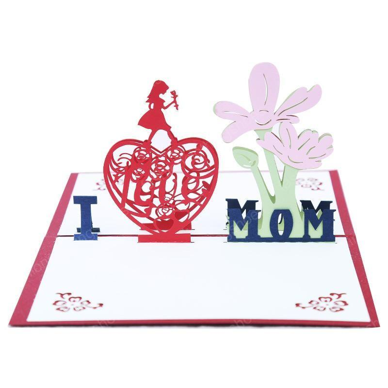Hollow Handmade Thank You Cards 3D Stereo Mothers Day Gift Laser Cut Postcard Birthday Greeting Card