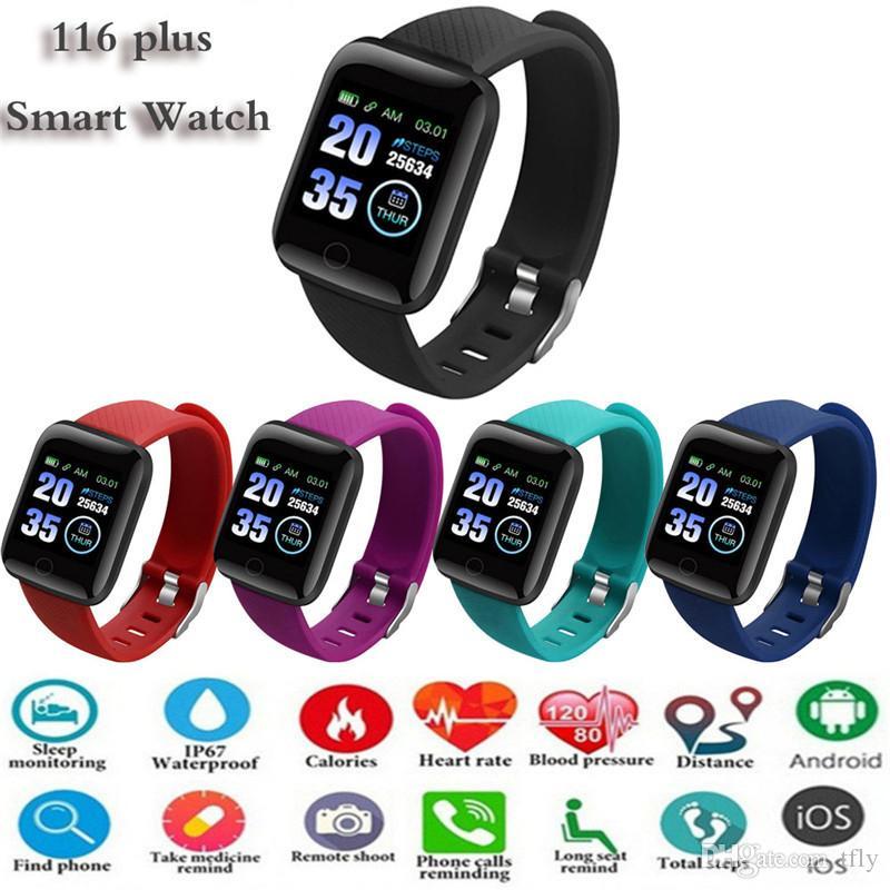 116 Plus Smart Watch Pulseras 1.3 pulgadas Fitness Tracker Tasa del corazón Tasa de corazón Contador de actividad Monitor de la banda Pulsera PK 115 M3 para iPhone Android