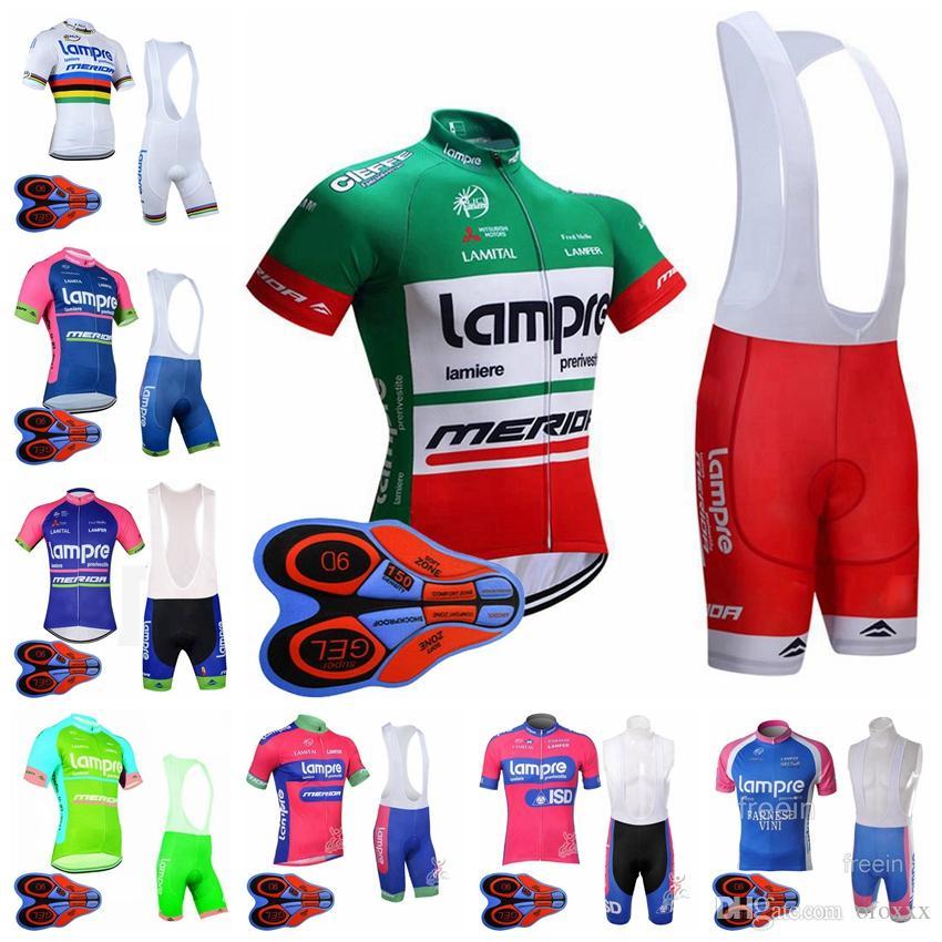 LAMPRE team Cycling Short Sleeves jersey babero conjuntos hombres 9D gel pad rápido secado transpirable deportes al aire libre jersey conjuntos S8245