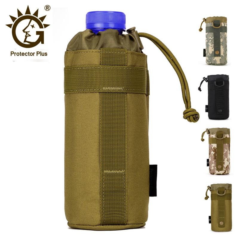Tactical Molle Water Bottle Pouch Outdoors Gear Kettle Waist Bag for Army Climbing Camping Hiking Bags Backpack Accessories