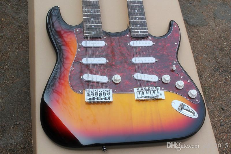 Free shipping,Wholesale 12+6 Strings Sunburst Double Neck Electric Guitar with Red Pearl Pickguard,3S Pickups,offering customized services