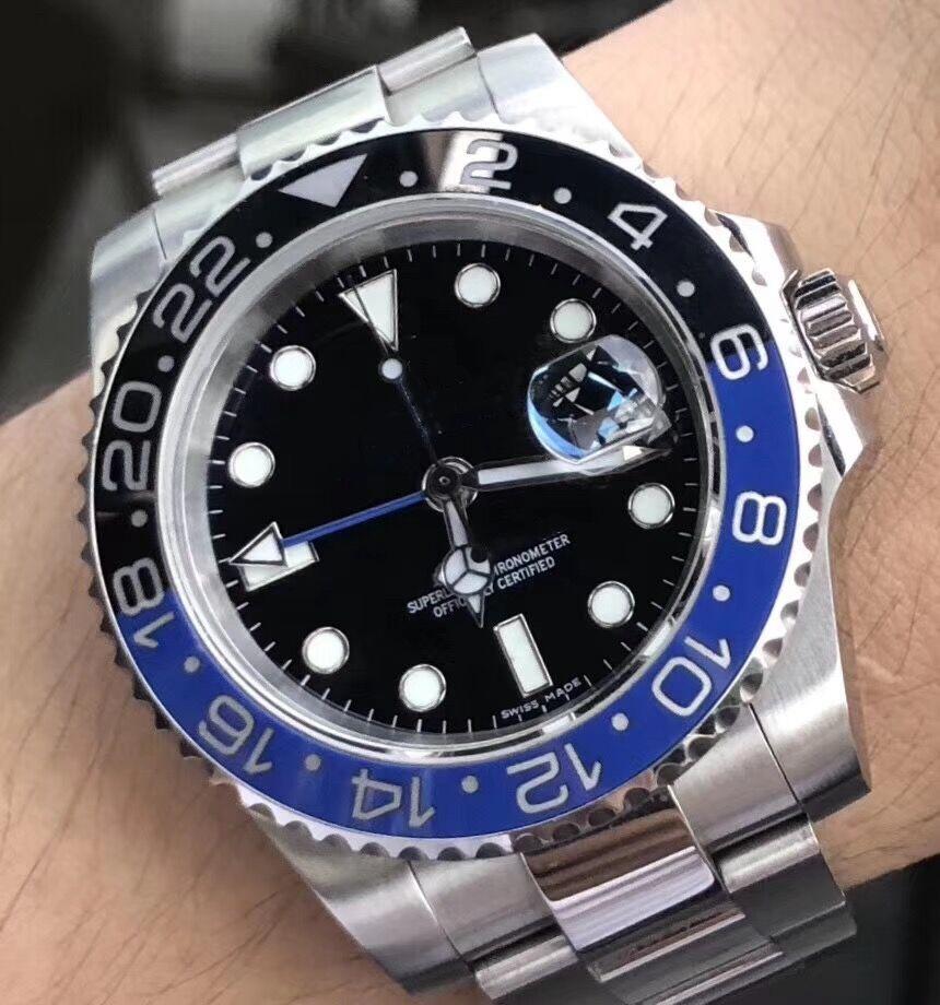 Керамический ободок GMT Mens механически из нержавеющей стали Автоматическое движение 2813 Движение Часы Мужчины моды Наручные часы keyaa