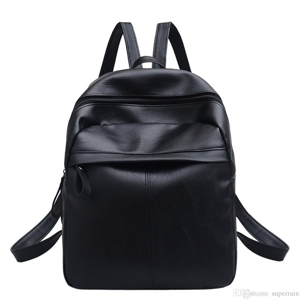 NEW المرأة جلدية الظهر حقيبة المدرسة السفر الظهر حقيبة سوداء الكتب السوداء عارضة الشحن المجاني الساخن