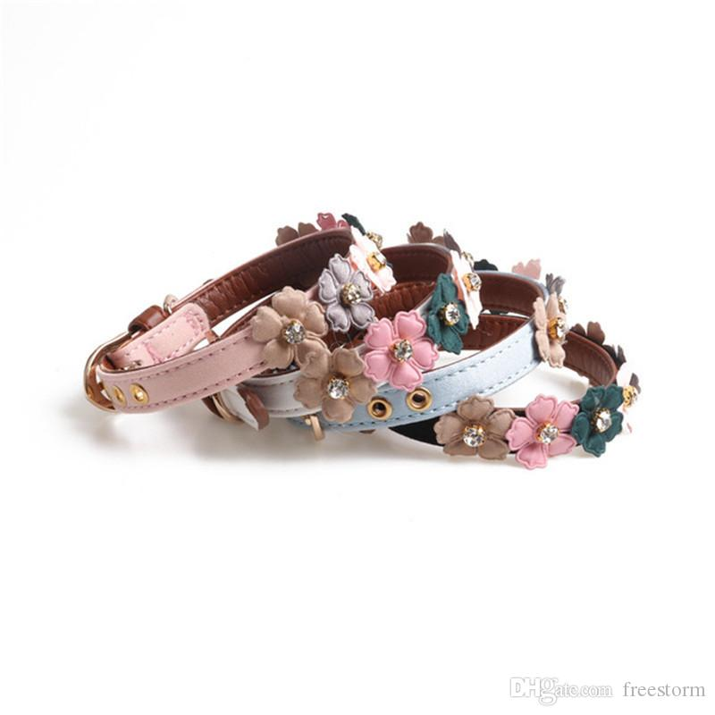 Bohemia Çiçek Süs Evcil Yakalar Moda Elmas Shinning Evcil Yaka Güzel Tasarımcı Teddy Schnauzer Lüks Yakalar