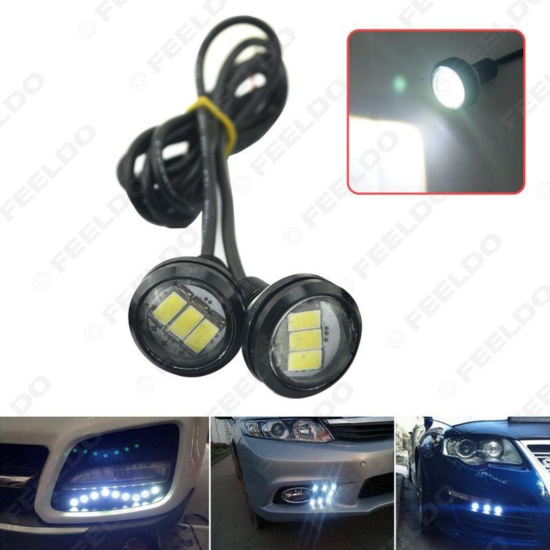 2pcs White Car 3W 23mm Lens Ultra-thin 5630 3SMD LED Eagle Eye Tail light Backup Rear Lamp DRL Light #1423
