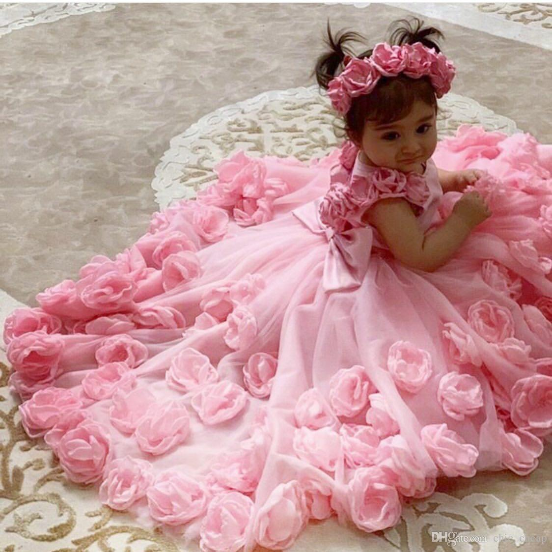 Розовые Дешевые Цветочные Девушка Платья Рука Сделанные Цветы Тюль Маленькая Девушка Свадебные Платья Дешевые Общины Пагенты Платья платья F168