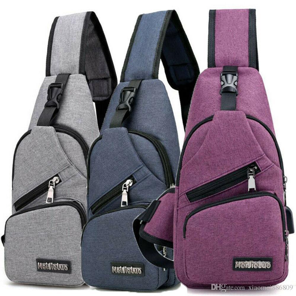 Men Canvas Creative USB Charger Port Anti-theft Chest Pack Travel Bags Backpack Rucksack Shoulder Sling Bag
