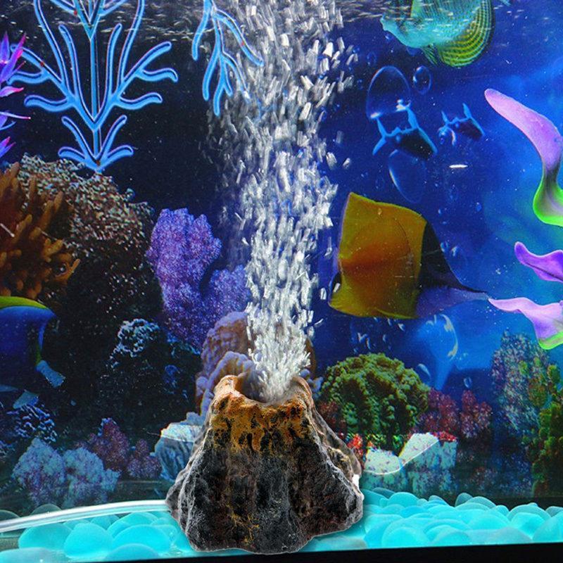 수족관 화산 모양 기포 돌 산소 펌프 어항 장신구 물고기 물 공급 훈장