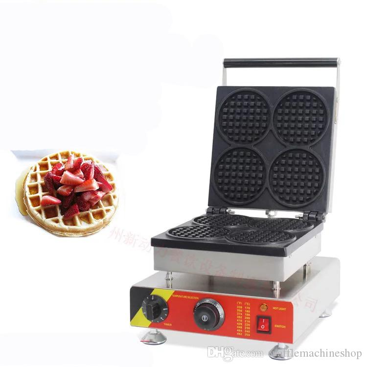 4 adet Yuvarlak Şekil Waffle Maker Makinesi Ticari Paslanmaz Çelik Waffle Yapma Makinesi Snack Maker Waffle Maker