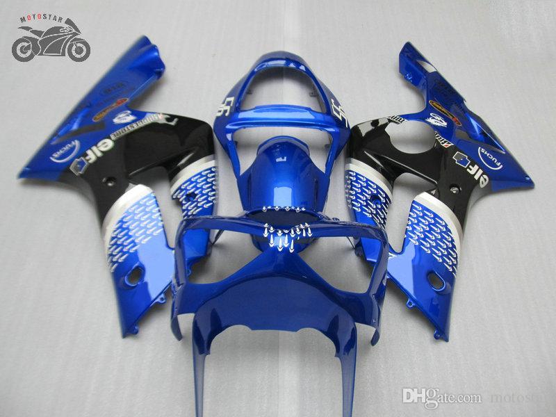 Personalizar peças de feiras de injeção para Kawasaki Ninja ZX6R 2003 2004 ZX-6R 636 03 04 ZX 6R Azul Chinês Motocicleta Jogo