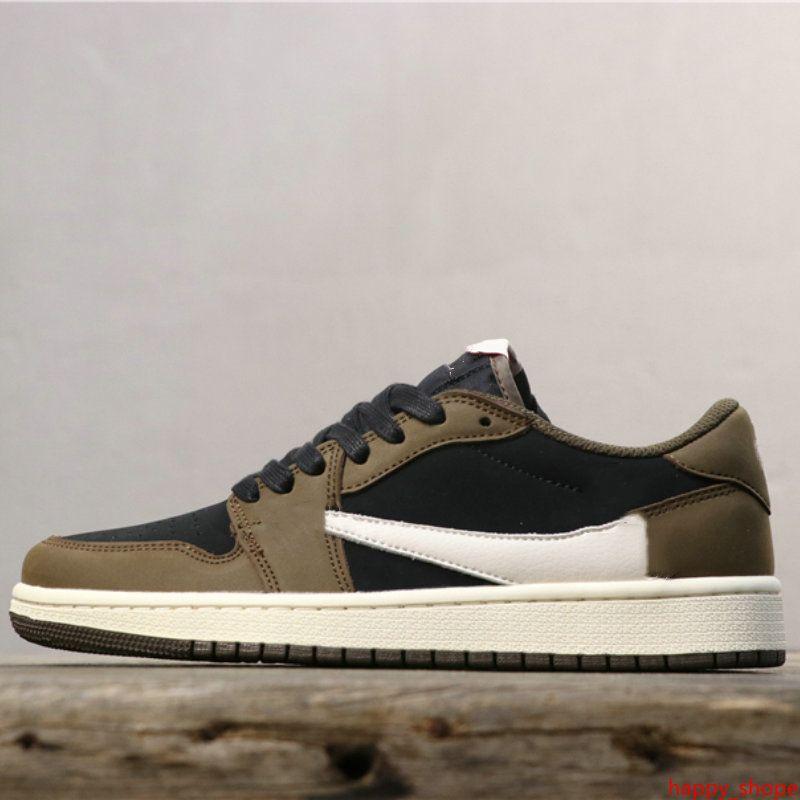 2019 Новый Трэвис Скотт x 1 Низкая ограниченная баскетбольная обувь 1s дизайнерские спортивные кроссовки для мужчин спортивные кроссовки 39-45