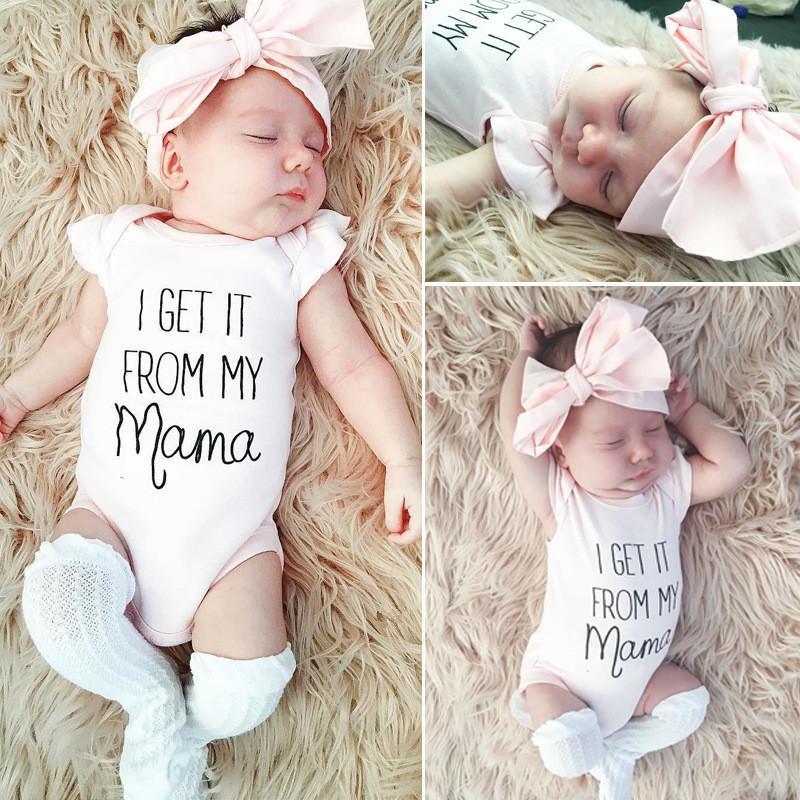 Kız Giyim Yaz Yeni Bebek Romper Tulumlar Kısa Kollu Tulumlar Pembe Bow Baş bandı İki Adet Set Çocuk Bodysuit İçin Çocuk E3302