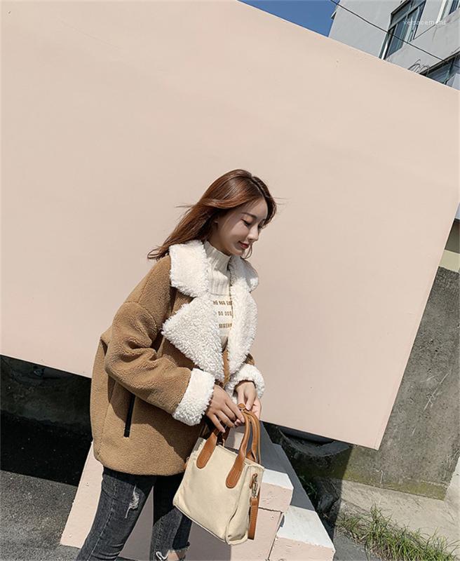 Casual Manteaux Lapel manches longues en peluche Manteaux Mode Bureau Lady Cardigan Vestes femmes de couleur contrastée
