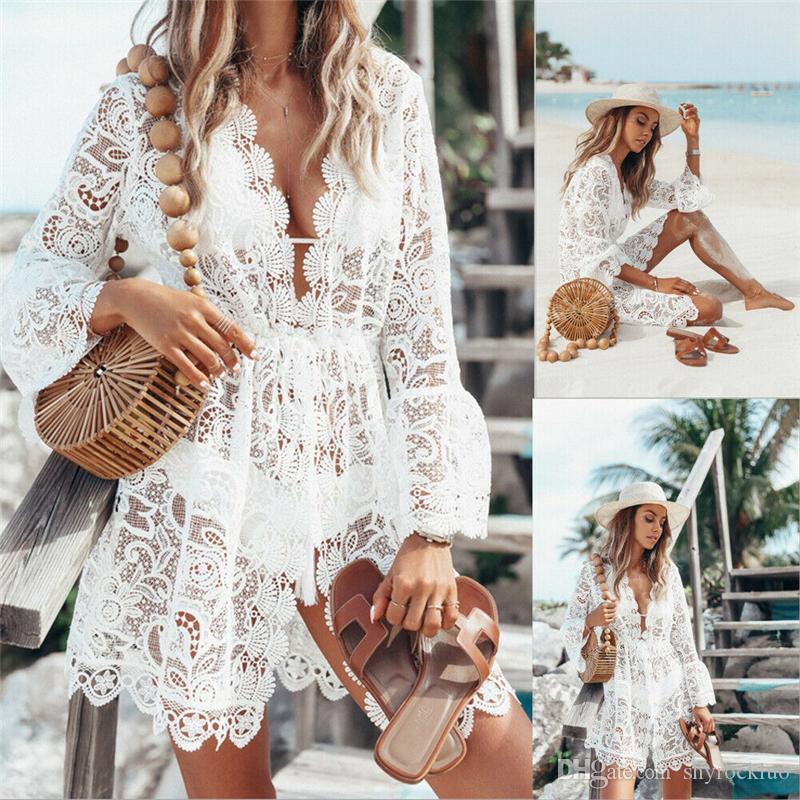 레이스 섹시 벨 슬리브 짧은 미니 드레스 레이스 레이스 크로 셰 뜨개질 비키니 수영복 여자 여름 패션 V - 넥 커버 업 캐주얼 속이 드레스